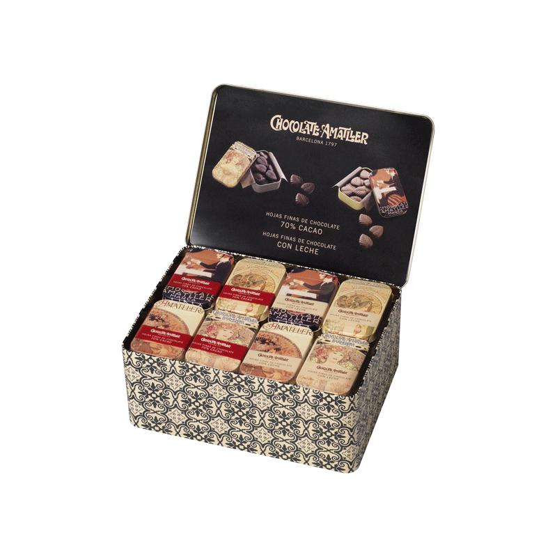 """Lata expositora (20 latas hojas chocolate 70% cacao 30g y 20 latas hojas chocolate leche 30g) """"Colección Vintage"""""""