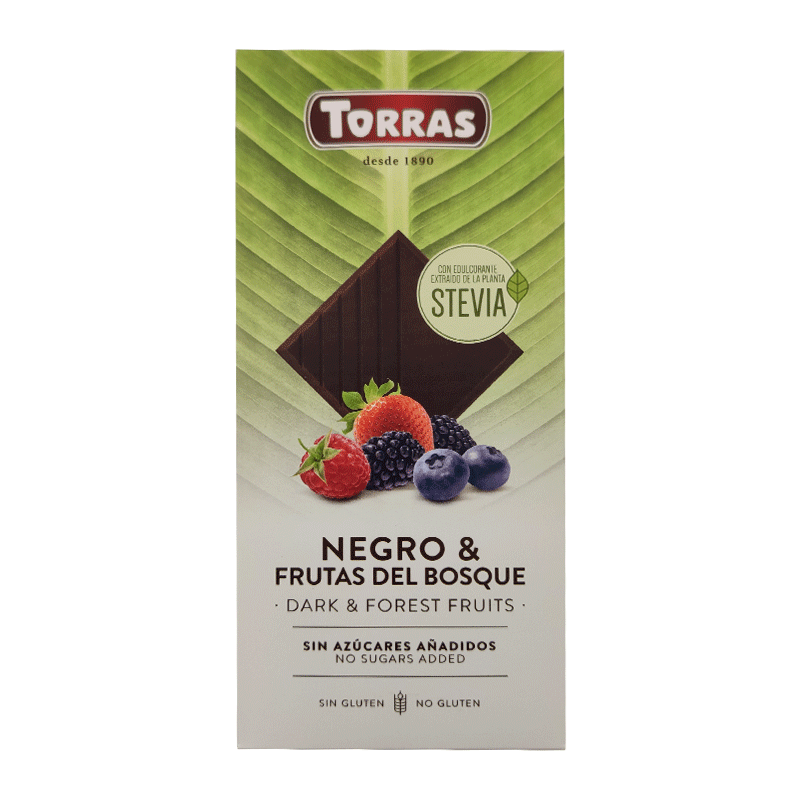 Chocolate stevia negro frutos del bosque 125g