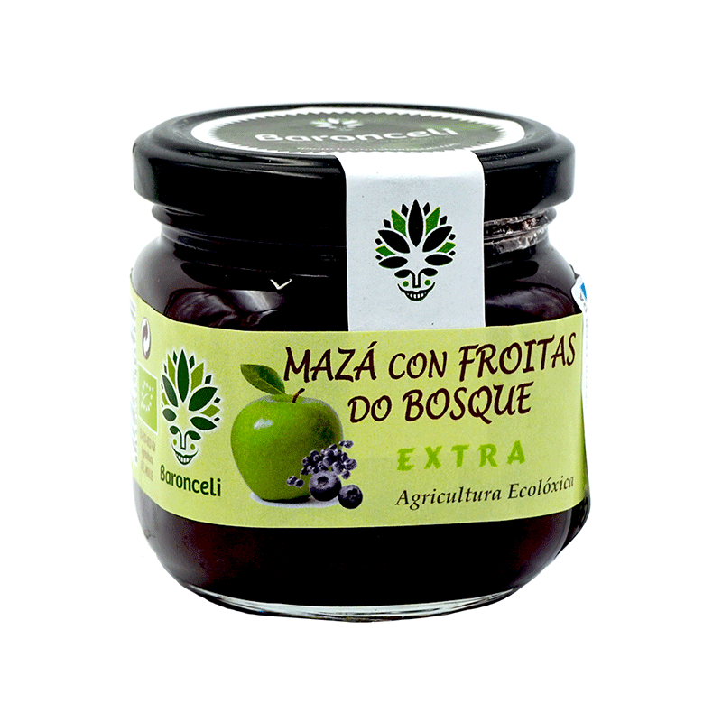 Mermelada de manzana con frutas del bosque ecológica 200g