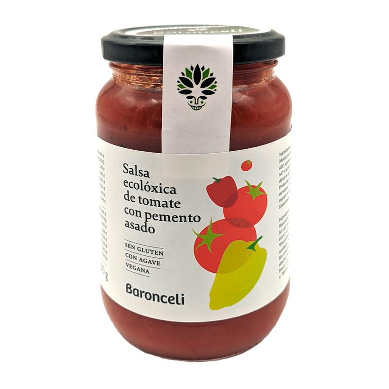 Frasco salsa de tomate con pimientos asados ecológica 350g
