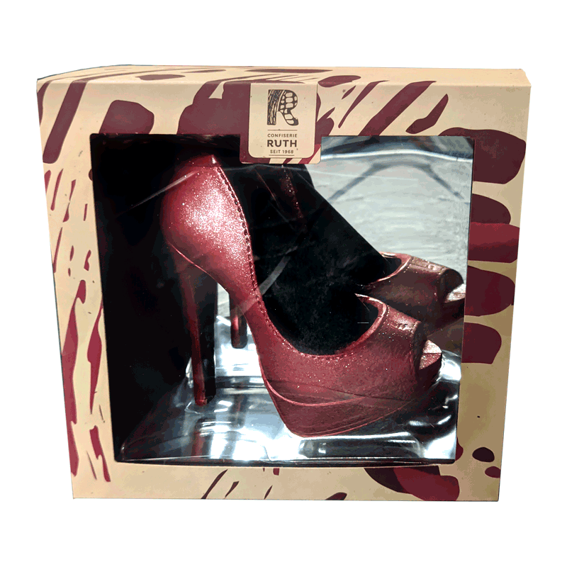 Zapato de plataforma rojo de chocolate con leche 125g