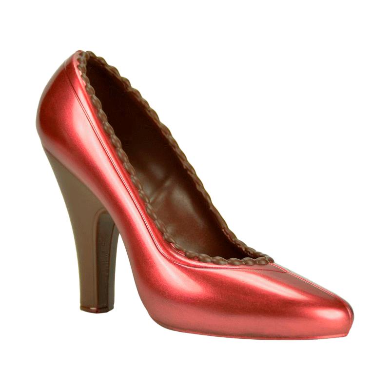Zapato de salón rojo de chocolate negro 120g
