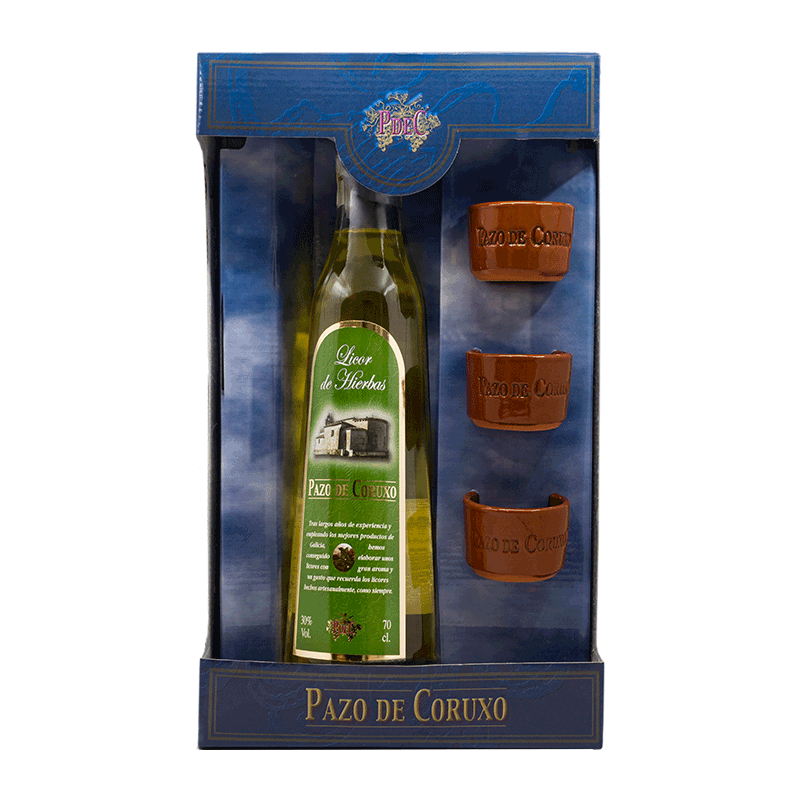"Estuche licor de hierbas gallego ""3 Chupitos Barro"" 70cl"