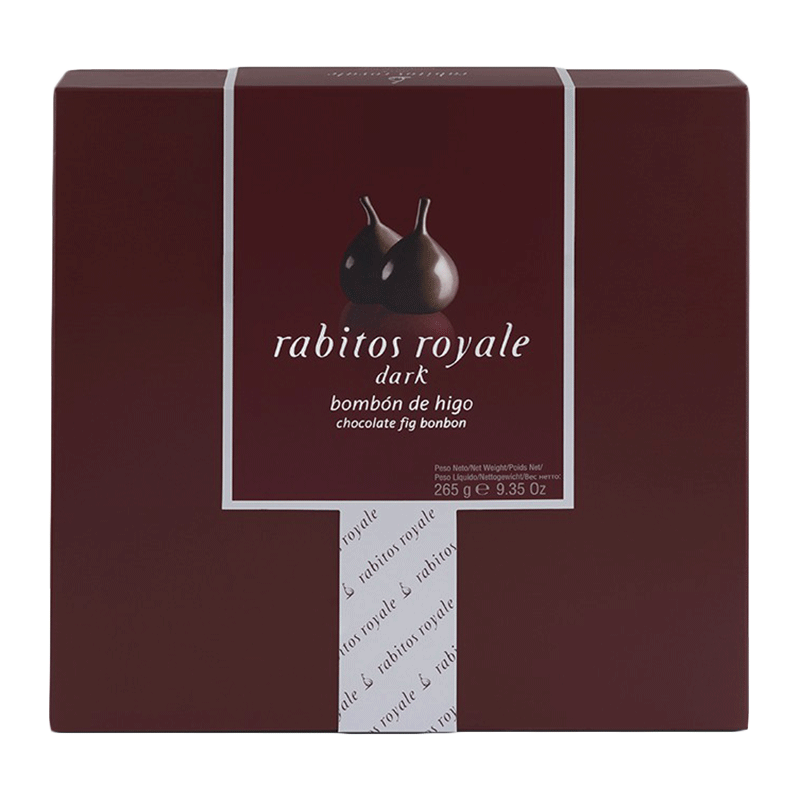Caja bombón higo relleno de trufa chocolate al brandy y recubierto chocolate negro 265g