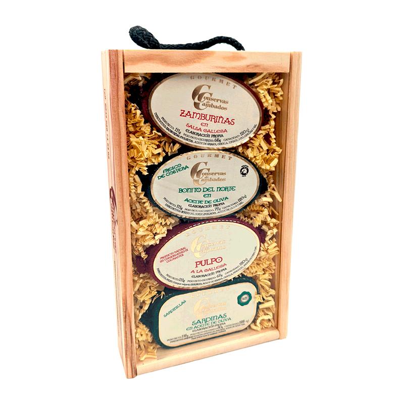 Estuche madera zamburiñas, bonito norte, mejillones y sardinilla Rías Gallegas