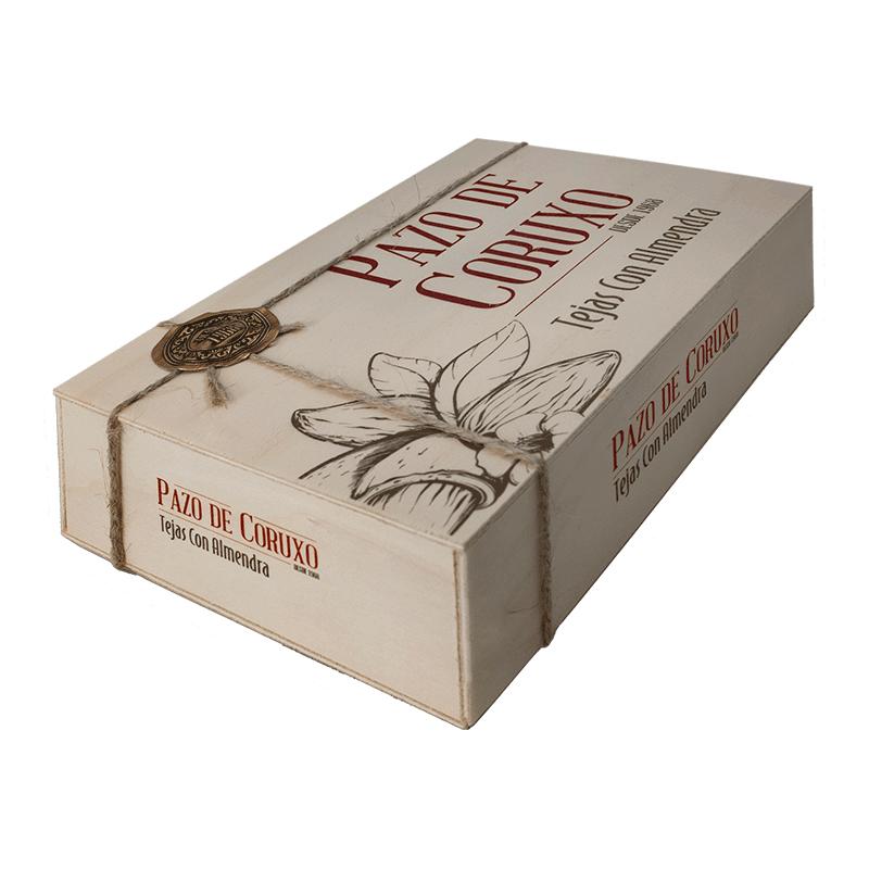 """Caja madera """"Tejas de almendra"""" artesanas 200g"""
