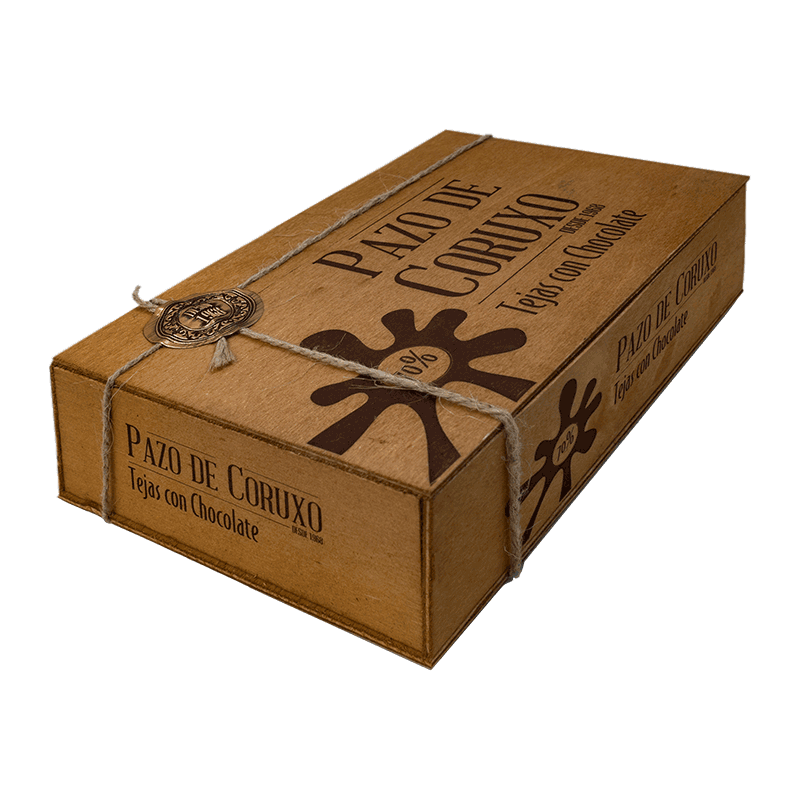 Caja madera 'Tejas de almendra bañadas con chocolate' artesanas 200g
