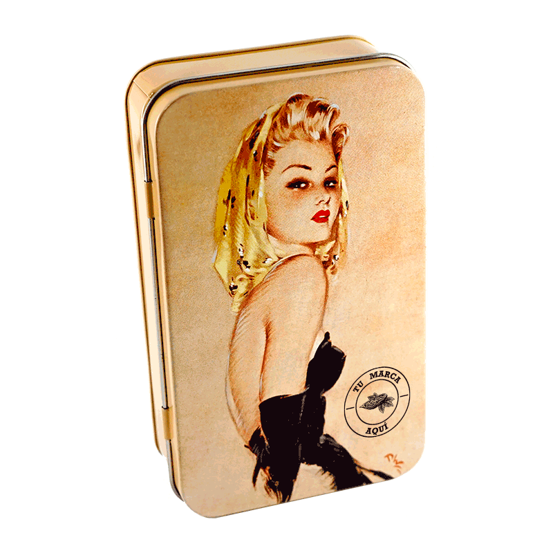 Lata personalizada de bombones praliné leche 'Golden Girl' 132g