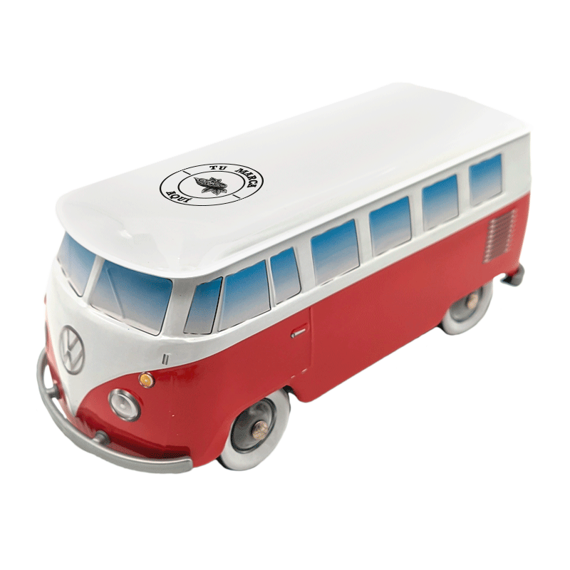 Lata personalizada de bombones praliné leche 'Furgoneta Volkswagen roja' 150g