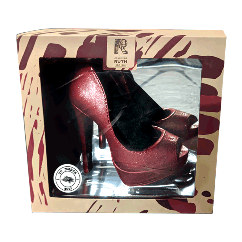Estuche personalizado Zapato de plataforma rojo de chocolate con leche 125g