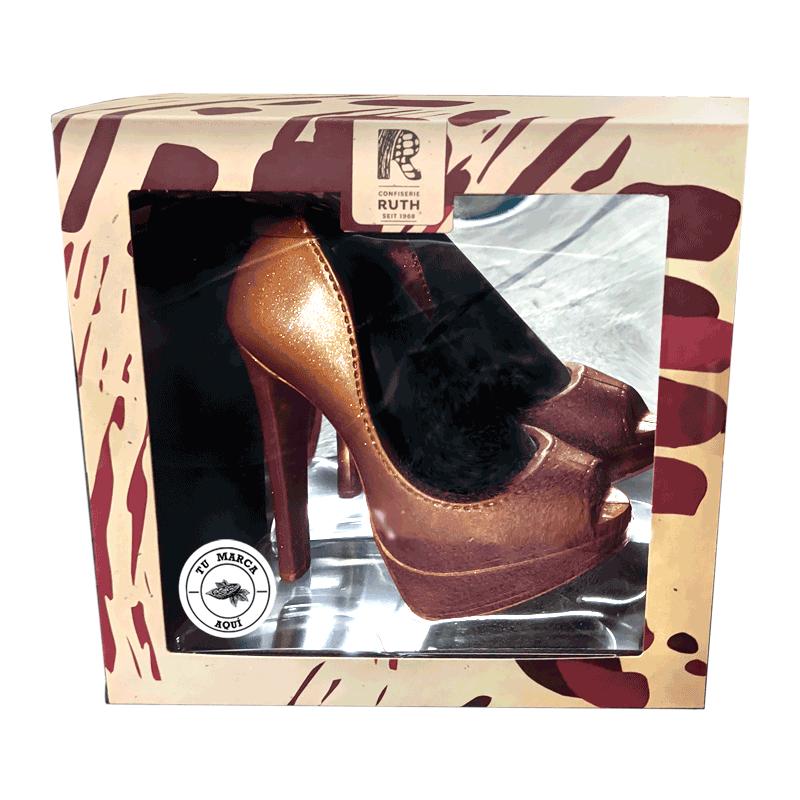 Estuche personalizado Zapato de plataforma oro de chocolate con leche 125g