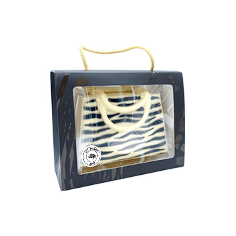 Estuche personalizado Bolso Zebra de chocolate blanco 250g
