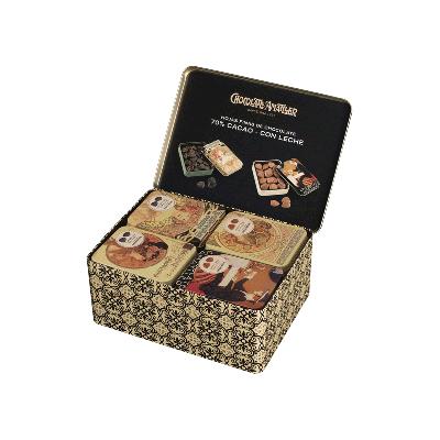 """Lata expositora (20 latas hojas chocolate 70% cacao 60g y 20 latas hojas chocolate leche 60g) """"Colección Vintage"""""""