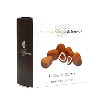 Estuche Bombón de fresa con cobertura chocolate blanco y cacao en polvo 100g