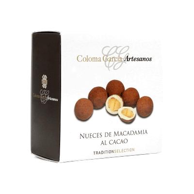 Estuche Bombón de nuez de Macadamia con cobertura chocolate blanco y cacao en polvo 100g
