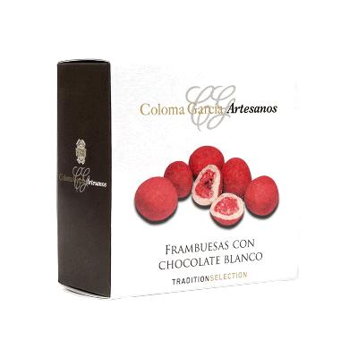 Estuche Bombón de frambuesa con cobertura chocolate blanco y acabado rosa 90g
