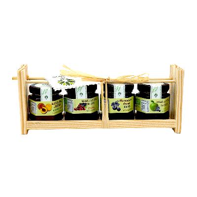 Mini-mermeladas surtidas ecológicas expositor madera 4 x 43g
