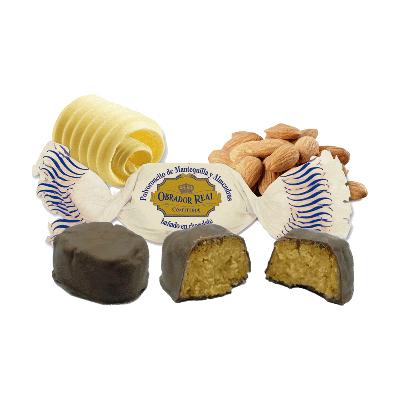 Caja polvorones artesanos de mantequilla y almendra bañados en chocolate 2,5kg