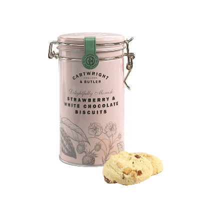 Lata biscuits de fresa y chocolate blanco 200g