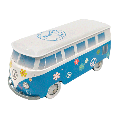 Lata bombones praliné leche 'Furgoneta Volkswagen flower power azul' 150g