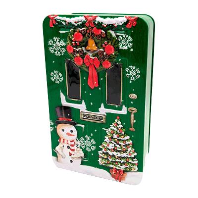 Lata bombones praliné leche 'Puerta de Navidad verde' 150g