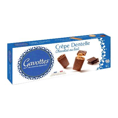 Crepes finos y crujientes recubiertos de chocolate leche 'Crêpe Dentelle Chocolat au lait' 90g