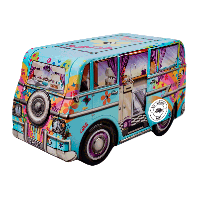 Lata personalizada de bombones praliné leche 'Mini Camper Hippy' 150g
