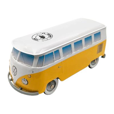 Lata personalizada de bombones praliné leche 'Furgoneta Volkswagen amarilla' 150g