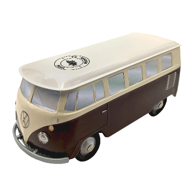 Lata personalizada de bombones praliné leche 'Furgoneta Volkswagen marrón & beige' 150g