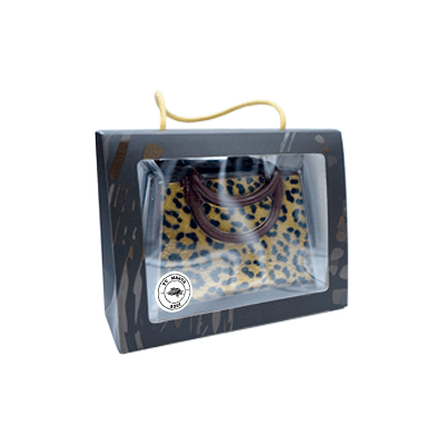 Estuche personalizado Bolso Leo de chocolate negro 250g
