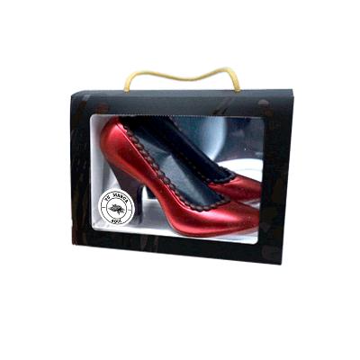 Estuche personalizado Zapato de salón rojo de chocolate negro 120g
