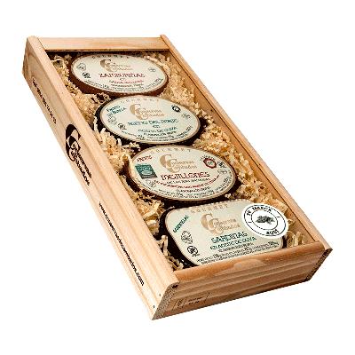 Estuche personalizado de madera zamburiñas, bonito norte, mejillones y sardinilla Rías Gallegas